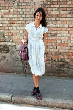 Coggles Fashion - London Street Style with vintage open collar white floral summer dress, burgundy Mulberry bag, burgundy brogues and black ankle socks.