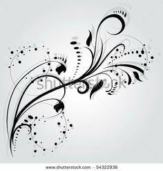 Floral silhouette, element for design, vector tattoo by Lindwa, via ShutterStock