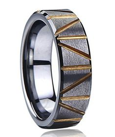 22mm Inside Size 13 Stainless Steel Ring Heavy Metal Series Single Bevel Centered Sculpted Finish Golden Anodized