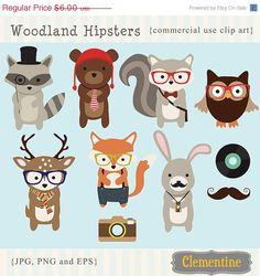 35% off sale Woodland Hipster clip art images,  fox clipart, fox vector, royalty free clip art- Instant Download