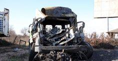 Park halindeki tıra çarptı, yanarak can verdi