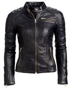 Jacket Leather Motorcycle S New Biker Black Coat Lambskin Womens Jackets WJ147