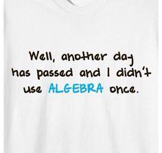 Algebra, the most useless subject.
