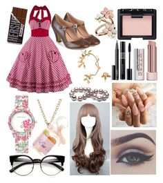 Self Insert OC: Vintage Look by ruegemshard on Polyvore featuring polyvore, fashion, style, Journee Collection, Laura Ashley, Accessorize, Bernard Delettrez, ZeroUV, NARS Cosmetics, Stila, Christian Dior, Bellezza, vintage and clothing