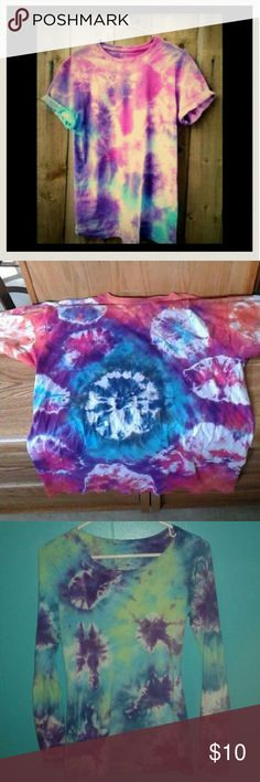 Custom Tie Dye Shirts Comment what you would like out of the options below, I will make you a new listing once I've made the shirt and you can purchase it. (:  -Tank top, long sleeve shirt, short sleeve shirt.   -Small, Medium, Large.  Choose up to 3 colors: -blue, green, purple, red, orange, yellow, pink, black.  1 for $10, 2 for $15, 3 for $25, 4 for $35. Brandy Melville Tops