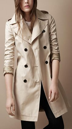 Burberry Mid-Length Oversize Collar Cotton Poplin Trench Coat