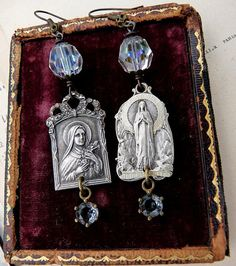 Antique French Religious Medal Earrings by by RusticGypsyCreations, $68.00