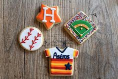 Houston restaurants, bakeries and bars are getting in on the Astros excitement. We& talking sweet, savory and all-around yummy. Fancy Cookies, Cute Cookies, Royal Icing Cookies, Sugar Cookies, Baseball Birthday Party, 1st Birthday Parties, 15th Birthday, Birthday Ideas, Houston Bars