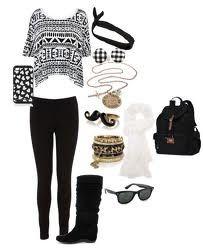 Outfit for school / tenue d'ecole/college/lycee ( tee shirt à manches courtes motif aztèque ~ slim noir ~ bottes noires ~ bijoux dorés/noirs/blancs ~ chèche blanche ~ sac noir )