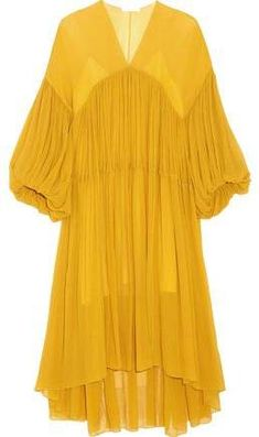 Shop on-sale Gathered silk-georgette midi dress. Browse other discount designer Midi Dress & more luxury fashion pieces at THE OUTNET Midi Dress Sale, Silk Midi Dress, Midi Dress With Sleeves, Yellow Midi Dress, Chloe Dress, Calf Length Dress, Midi Cocktail Dress, Tiered Dress, Polyvore