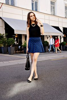 LOVE the polka dot skirt and it works really well with flats.
