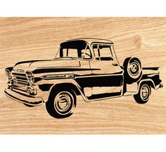 1959 Chevy Apache Pickup Scrolled Wall Art Pattern