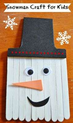 Snowman Craft for Kids with popsicle sticks