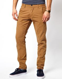 $47, Tobacco Chinos: D-struct Chinos. Sold by Asos. Click for more info: https://lookastic.com/men/shop_items/106003/redirect