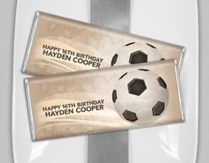 Personalize a HERSHEY'S candy bar wrapper for your Soccer birthday favors. Great idea for a candy buffet, goodie bag or add to each place setting at a nice family dinner. Soccer Birthday Parties, Birthday Candy, Soccer Party, Birthday Favors, Soccer Banquet, Basketball, Soccer Gifts, Soccer Stuff, Senior Night Gifts