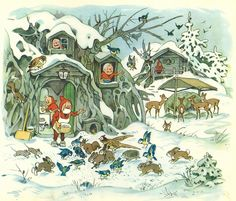 Diana from Germany sent me this illustration by Fritz Baumgarten as inspiration. Fritz is a German illustrator who illustrated many children's books. Christmas Illustration, Children's Book Illustration, Fairy Land, Fairy Tales, Troll, Baumgarten, Elves And Fairies, Woodland Creatures, Faeries