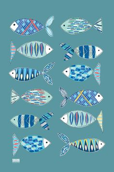 Patterned Fish Tea Towel design led kitchen textiles. 100%