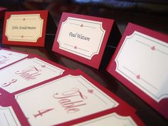 Custom, Elegant Wedding Reception or Event Escort Cards or Place Cards **shown in textured deep red**