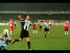 Alessandro Del Piero celebrates scoring for Juventus in the Champions League against AS Monaco, 1998.