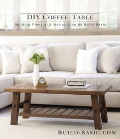 19 Free Plans to Help You Build a Coffee Table: DIY Coffee Table Plan from Build-Basic