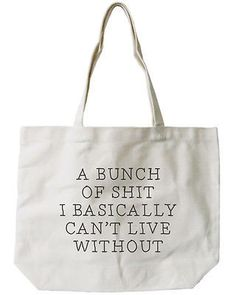Can't Live Without Canvas Tote Bag - 100% Cotton Eco Bag, Shopping Bag, Book Bag