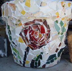 Set of 2 Large Beautiful Mosaic & Stained Glass Plant Pots. $575.00, via Etsy.