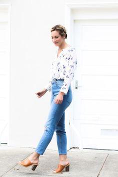 asos mom jeans, Revolve floral shirt, feminine fashion, braids, up-do, feminine outfit, mule shoes
