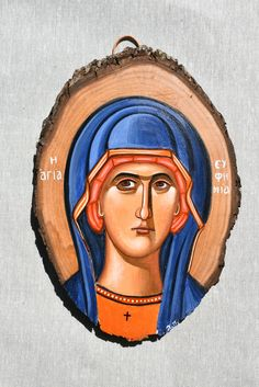 Saint Eufemia byzantine orthodox icon handpainted on wood Byzantine Icons, Orthodox Icons, Place Of Worship, Leather Cord, Saints, Hand Painted, Canvas, Wood, Artist