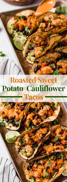 a simple veggie lover tacos formula loaded up with simple broiled cauliflower, cooked sweet potatoes, dark beans, beat with vegetarian chipotle lime cashew crema. Sweet Potato Tacos, Sweet Potato Recipes, Cauliflower Tacos, Cauliflower Recipes, Cooking Sweet Potatoes, Roasted Sweet Potatoes, Vegetarian Recipes, Cooking Recipes, Healthy Recipes
