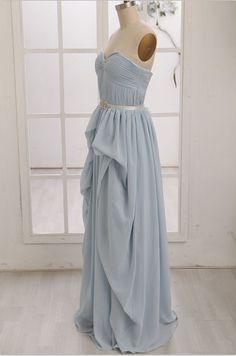 Blue Chiffon Bridesmaid Dress/Prom Dress Strapless by misdress