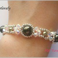 Crystal Green Pearl Metal Bracelet (BB167) - PDF Tutorial  - Thumbnail 1