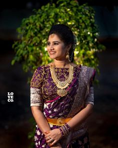 The Art Of Styling Sarees With Bold Antique Necklace Half Saree Designs, Saree Blouse Designs, Indian Wedding Outfits, Bridal Outfits, Purple Saree, Orange Saree, Wedding Saree Collection, Saree Models, Saree Look