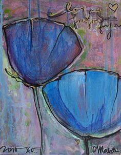 Two Blue Poppies Prints available for Purchase Online by Laurie Maves