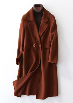 Fine chocolate woolen coats oversize mid-length coats back open coat lapel collar Cute Winter Coats, Winter Coats Women, Coats For Women, Jackets For Women, Suede Trench Coat, Long Wool Coat, Wool Coats, Plus Size Coats, Green Jacket