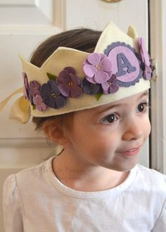 Violet Felt Crown Personalized Crown Purple by pixieandpenelope