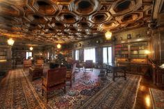 There are a few libraries inside Hearst Castle, and this is the biggest. I've always wanted something a little like this. Maybe it doesn't have to be quite this large, but I'd settle for a few warm shelves full of books, a reading table, and a few servants to bring me coffee. - LA, California - Photo from #treyratcliff Trey Ratcliff at http://www.StuckInCustoms.com