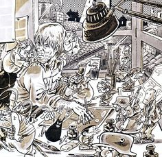The cartoonist Bonvi and his characters:  Sturmtruppen, Nick Carter (created with Guido De Maria), DopoBomba, Marzolino Tarantola... (C) Bonvi / Eredi Bonvicini - licensed by n+v Comics