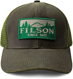 Made of durable tincloth, the Filson Logger Mesh cap hugs your head comfortably, with 6-panel construction, a pre-curved bill and an adjustable strap with a brass buckle on the back. Available at REI, 100% Satisfaction Guaranteed.