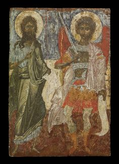 Icon; painted wooden panel; at left St John the Baptist, nimbed and holding a scroll;  at right St Demetrios, nimbed, wearing military costume, holding a sword and scroll. St John appears to be holding a long thin cross executed in red. On either side of