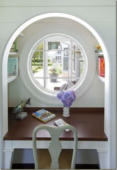 Writer's nook? Homework area? Quiet place to read? - window makes me think of a hobbit hole. I want one
