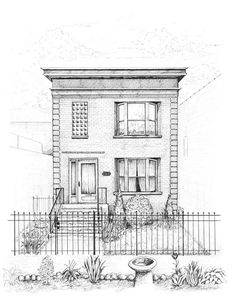 Renderings/drawings of bungalows, two-flats, six-flats, Chicago-style residential architecture in pen and ink, greystones illustrated and Victorian cottages Building Painting, Building Drawing, Building Sketch, House Painting, Pen Drawings, Sketchbook Drawings, Sketches, Architecture Drawing Sketchbooks, Architecture Concept Drawings