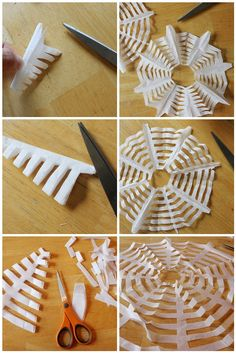 "Coffee filter spider webs: great for ""snowflakes"" because they are thin but not flimsy"