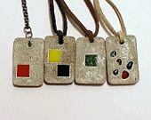 Halskette, des Käufers Wahl, Beton Beton Schmuck, schwarze und gelbe Halskette, konkrete Rectangle, Beton Anhänger