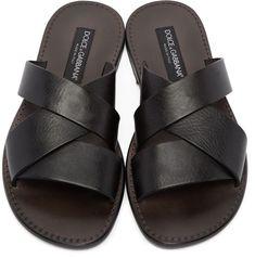 Dolce & Gabbana - Black Leather Multi-Strap Sandals #MensSandals