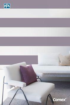 Si quieres lograr una sensación de mayor amplitud en tus ambientes, pinta líneas horizontales en tus paredes, es una gran opción para los espacios pequeños.  #Inspírate, aplica el color como un experto