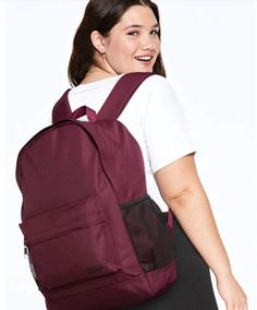 """New in packaging VS Pink Ravishing Ruby Backpack Lightweight fabric Interior laps top sleeve Fits 15"""" laptop Comfy straps Water bottle pockets Vs Pink Backpack, Sling Backpack, Laptop Sleeves, Comfy, Purses, Classic, Pink Backpacks, Water Bottle, Bags"""