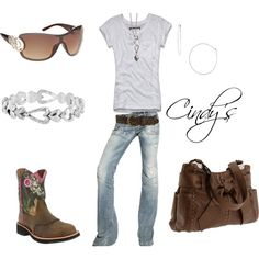 Nothing better than my boots,jeans and tee:), created by cindycook10 on Polyvore