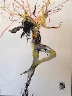 "dorlevi Saatchi arte artista Pelin;  Dibujo, ""la poesía de baile 9"" #art"