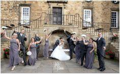 Lumley Castle Wedding, fun wedding photograph, creative group shots, wedding photography ideas, bridesmaids, groomsmen, katie byram photography, grey bridesmaid dresses