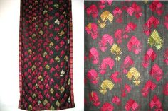 Pakistan, Kohistan, shawl, silk embroidery on cotton